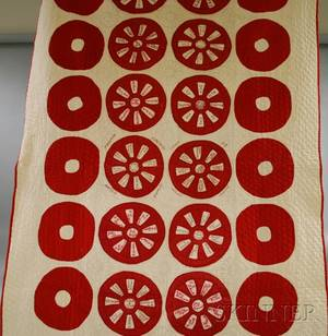Red and White Pieced and Embroidered Cotton Friendship Quilt