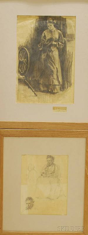 American School 19th20th Century Lot of Two Framed Figural Drawings Studies of a Seated Old Woman