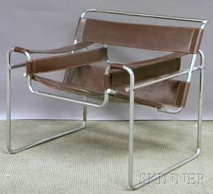 Modern Marcel Breuer Wassilystyle Brown Leather and Bent Steel Chair