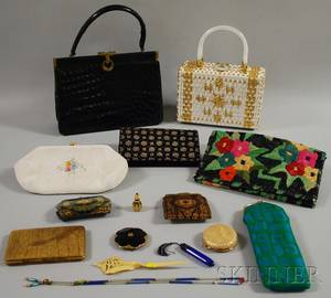 Nine Womens Purses Cases and a Group of Accessory Items