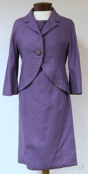 Lavender Linen Christian Dior New York Sheath Dress and Matching Cropped Jacket