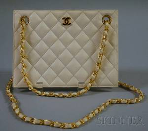 Chanel Cream Quilted Lambskin Handbag