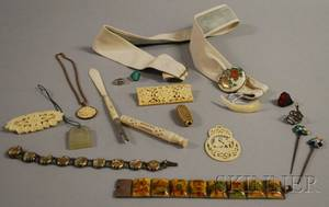 Group of Asian Bone Ivory Satsuma and Hardstone Jewelry