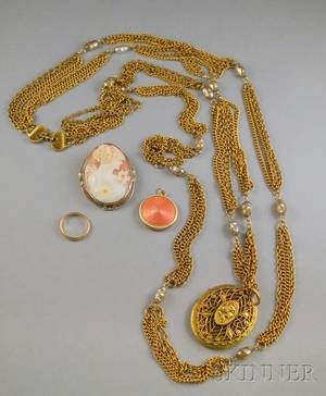 Small Group of Gold and Victorian Costume Jewelry