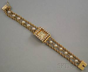 Ladys 14kt Gold and Pearl Tourneau Wristwatch