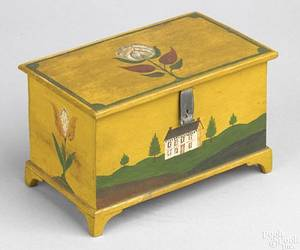 Vibrant Lancaster County Pennsylvania decorated miniature pine blanket chest by Jacob Weber ca 1840
