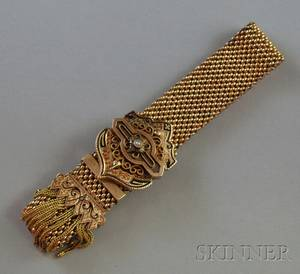 Antique 14kt Gold Enamel and Seed Pearl Slide Bracelet