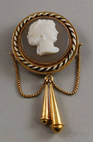 Antique 14kt Gold Carved Cameo and Enamel Brooch