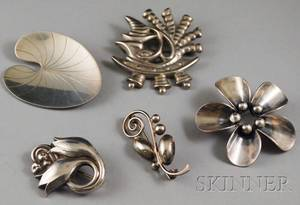 Georg Jensen Sterling Silver Floral Brooch and Four Additional Danish Sterling Silver Brooches