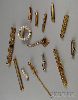 Group of Gold Pins and Brooches