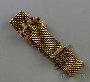 Antique 14kt Gold and Garnet Buckleform Mesh Slide Bracelet
