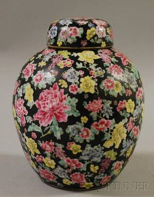 Modern Chinese Export Enameldecorated Porcelain Jar with Cover