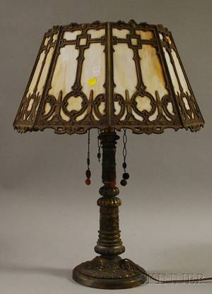 Bradley  Hubbard Octagonal Gilt Cast Metal and Slag Glass Panel Table Lamp