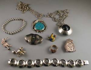 Small Group of Mostly Mexican and Southwestern Sterling Silver Jewelry