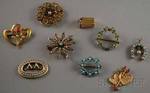Nine Antique Jewelry Items