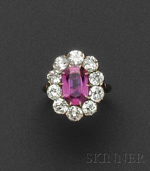 Antique 18kt Gold Burma Ruby and Diamond Ring