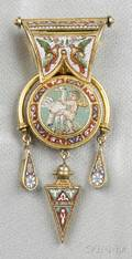 Etruscan Revival 18kt Gold and Micromosaic Reversible Bulla