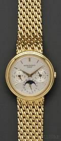 18kt Gold Perpetual Calendar Moonphase Wristwatch Patek Philippe