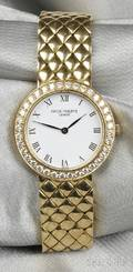 Ladys 18kt Gold and Diamond Calatrava Wristwatch Patek Philippe