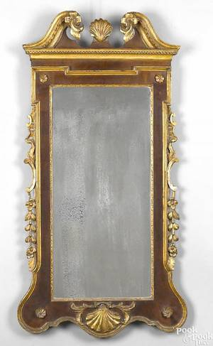 English or American Chippendale mahogany and giltwood constitution mirror ca 1780
