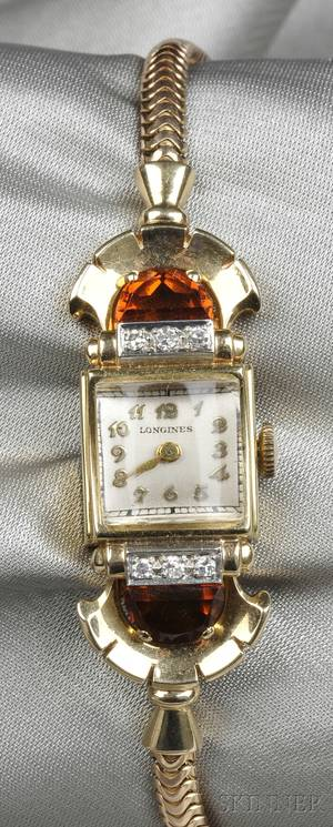 Retro 14kt Gold and Citrine Wristwatch Longines