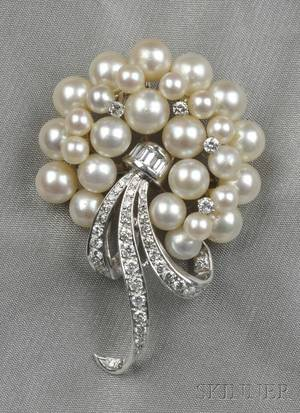14kt White Gold Cultured Pearl and Diamond PendantBrooch