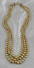 14kt Bicolor Gold Bead Necklace