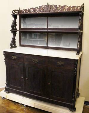 19th C American Rosewood Marble Top Sideboard