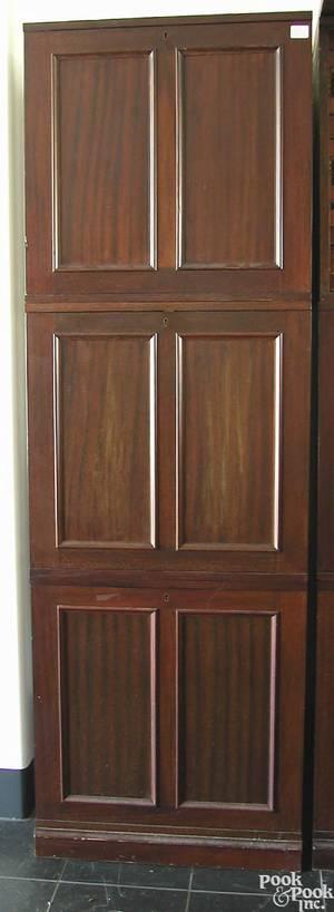 Threepiece stacking mahogany specimen cabinet