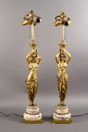 Pair of Empire Style Gilt Bronze Figural Lamps