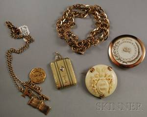Group of Gold and Ivory Antique and Masonic Jewelry