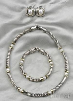 Sterling Silver 14kt Gold and Cultured Pearl Cable Suite David Yurman