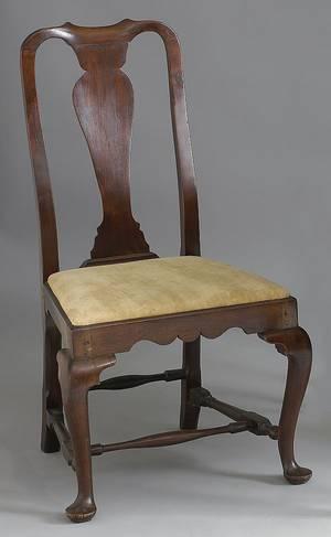 Massachusetts Queen Anne walnut dining chair ca 1745