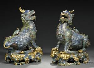 Pair of Large Cloisonne Foo Dogs