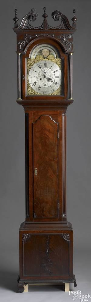 Important Philadelphia Chippendale mahogany tall case clock ca 1775