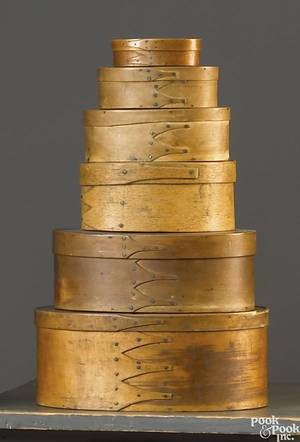 Five Shaker graduated bentwood boxes 19th c