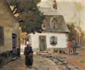 Anthony Thieme American 18881954 Dutch Village Scene in Autumn