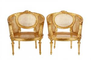 Pair of Louis XVI Style Giltwood Caned Bergeres