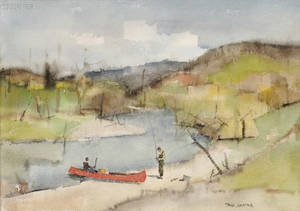 Paul Starrett Sample American 18961974 The Trout Stream Early Spring