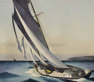Sandor Bernath American 18921984 Lot of Three Watercolors of Sailing Yachts Trimming the Sails Setting Out