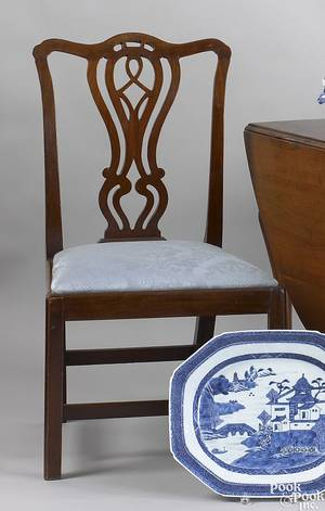 Set of 3 English Chippendale dining chairs ca 1780