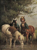 Scott Leighton American 18491898 Three Cart Horses Watering at a Stream