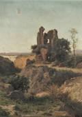 Achille Vertunni Italian 18261897 Lot of Two Landscapes Hillside Ruins