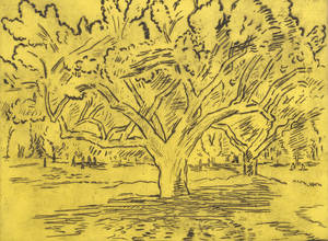 Karl Schrag American 19121995 Big Tree and Distant Figures
