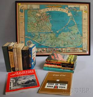 Twelve Books Related to Cape Cod and Nantucket with a Framed Nantucket Map