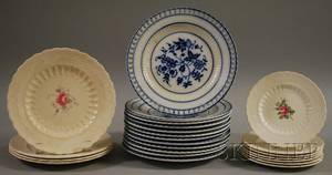 Set of Twelve French Blue and White Ceramic Plates with Pierced Rims and a Partial Set of Eleven Spode Billingsley Rose Pattern Cera