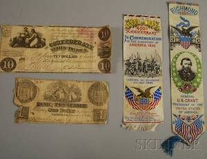 Two Stevengraphtype Bookmarks and Two Pieces of Confederate Currency