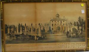 Framed John G Tilton Lithograph A View of the Mansion of the late Lord Timothy Dexter in High Street Newburyport 1810