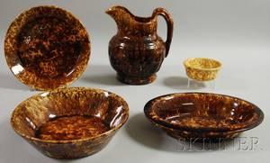 Five RockinghamBennington Glazed Pottery Items