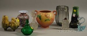 Nine Art Deco Glass and Ceramic Decorative Items